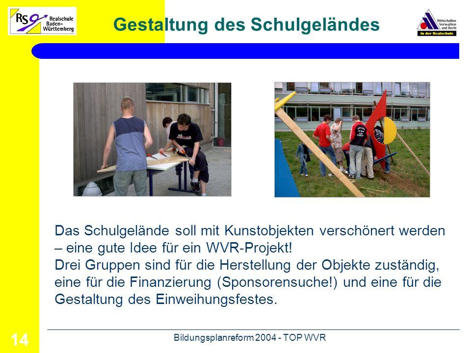 Bildungsplanreform 2004 - TOP WVR 15 Gestaltung des Schulgeländes Das Ergebnis kann sich sehen lassen: Die Klasse 8b der Erich Kästner Realschule in Steinheim ist stolz auf ihre Kunstwerke und das gelungene Einweihungsfest.