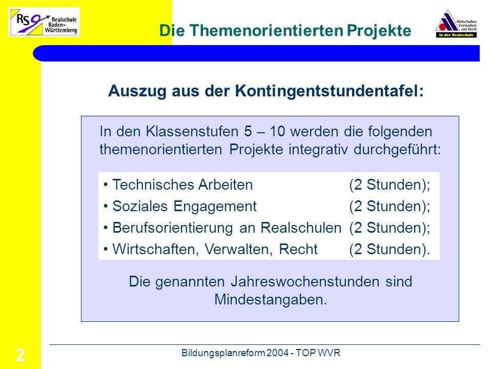 Bildungsplanreform 2004 - TOP WVR 3 Verankerung im Bildungsangebot 10 9 8 7 6 5 WVR (2) Technisches Arbeiten (2) Soziales Engage- ment (2) BORS (2)