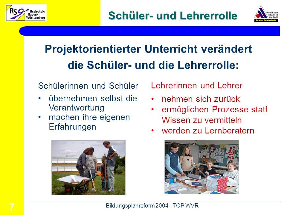 Bildungsplanreform 2004 - TOP WVR 8 Initiative Projektphasen im Überblick Planung Durchführung Präsentation Bewertung Evaluation