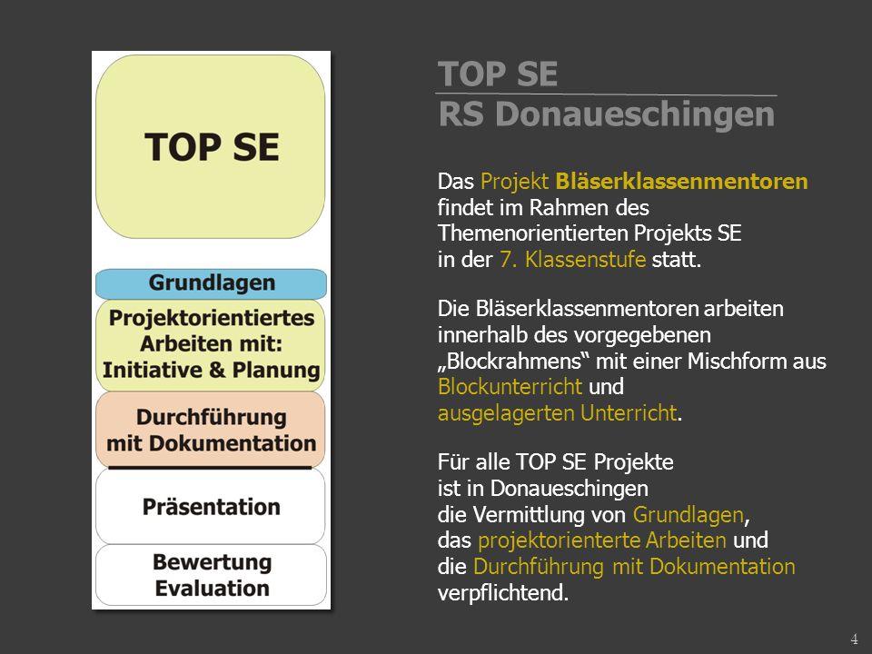 Das Projekt Bläserklassenmentoren findet im Rahmen des Themenorientierten Projekts SE in der 7.