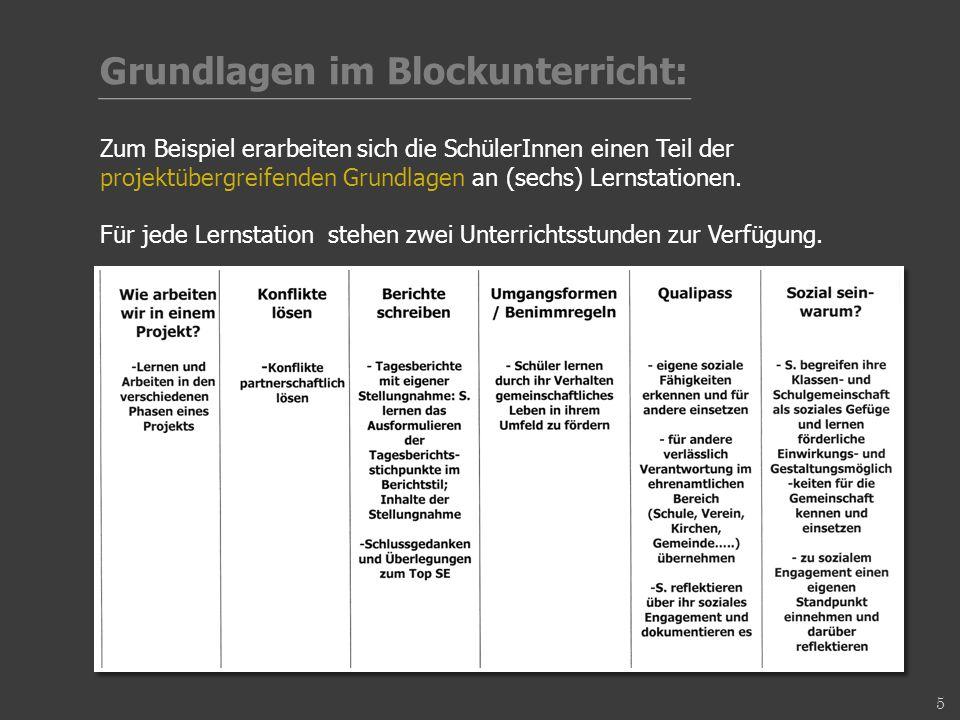 Grundlagen im Blockunterricht: Zum Beispiel erarbeiten sich die SchülerInnen einen Teil der projektübergreifenden Grundlagen an (sechs) Lernstationen.
