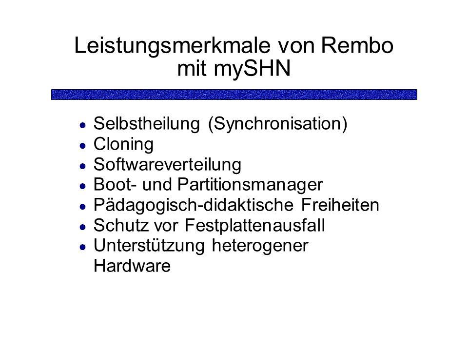 Leistungsmerkmale von Rembo mit mySHN Selbstheilung (Synchronisation) Cloning Softwareverteilung Boot- und Partitionsmanager Pädagogisch-didaktische Freiheiten Schutz vor Festplattenausfall Unterstützung heterogener Hardware