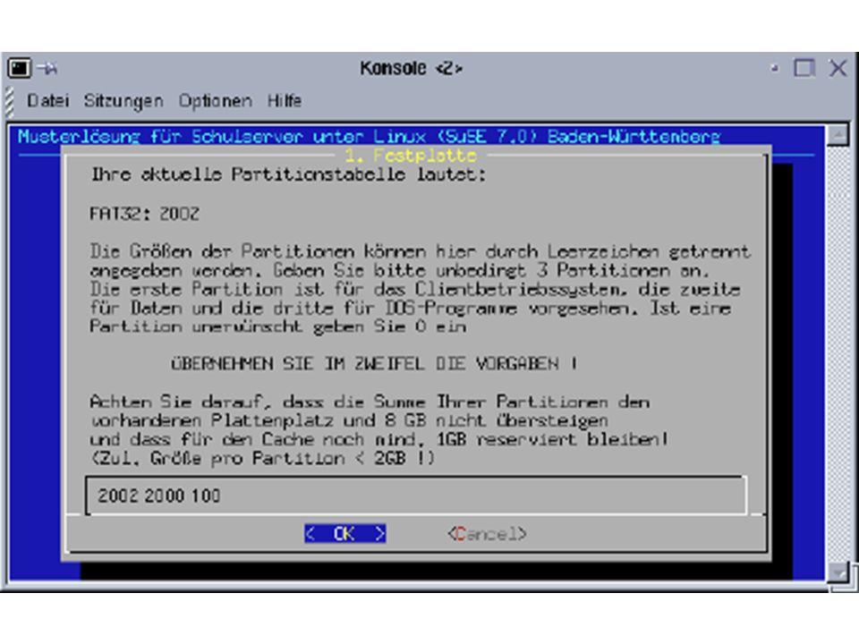 Client über PXE starten PXE-fähige Karte lässt sich auf Booten übers Netz einstellen BootROM fordert IP-Adresse vom DHCP-Server an Arbeitsstation bootet Linux über das Netz Daten werden abgefragt Partitionierung wird ermittelt