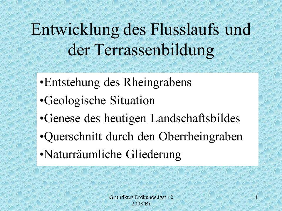 Grundkurs Erdkunde Jgst.12 2003/Br 1 Entwicklung des Flusslaufs und der Terrassenbildung Entstehung des Rheingrabens Geologische Situation Genese des