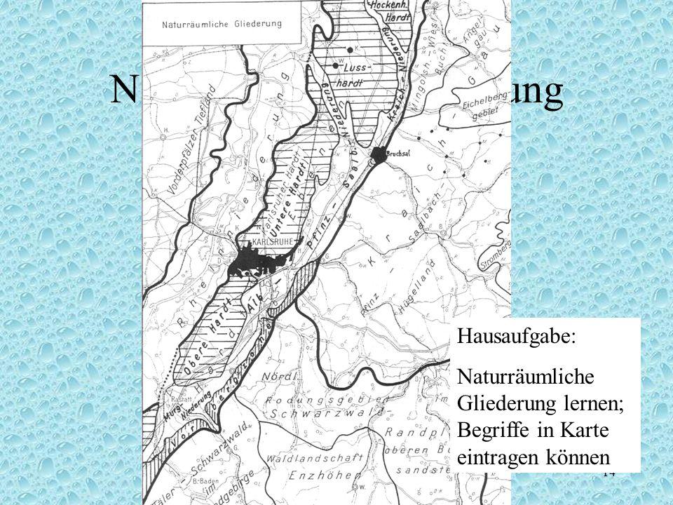 Grundkurs Erdkunde Jgst.12 2003/Br 14 Naturräumliche Gliederung Hausaufgabe: Naturräumliche Gliederung lernen; Begriffe in Karte eintragen können