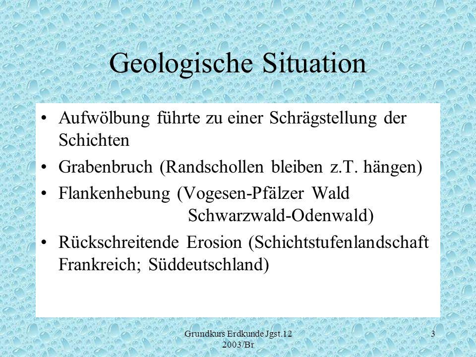 Grundkurs Erdkunde Jgst.12 2003/Br 3 Geologische Situation Aufwölbung führte zu einer Schrägstellung der Schichten Grabenbruch (Randschollen bleiben z