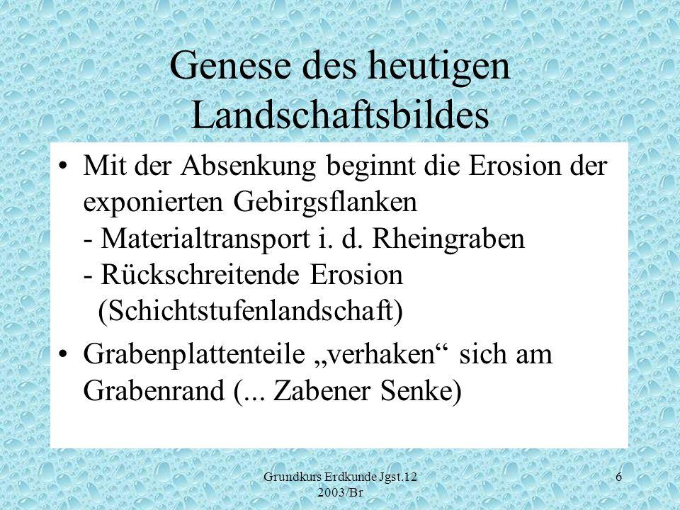 Grundkurs Erdkunde Jgst.12 2003/Br 7 Genese des heutigen Landschaftsbildes Aufschüttung des Grabens durch Rheinsediment ( Beginn ca.