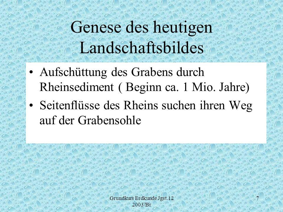 Grundkurs Erdkunde Jgst.12 2003/Br 7 Genese des heutigen Landschaftsbildes Aufschüttung des Grabens durch Rheinsediment ( Beginn ca. 1 Mio. Jahre) Sei