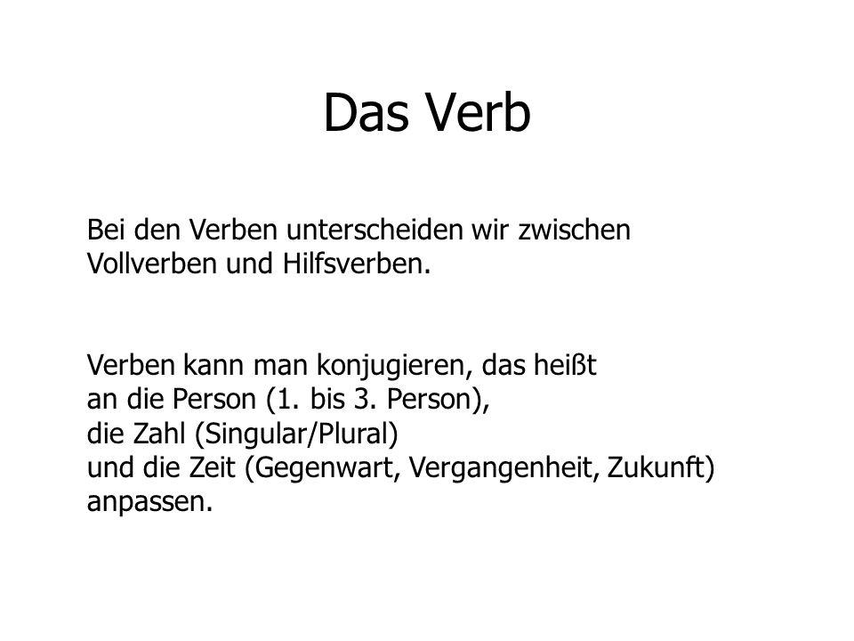 Das Verb Bei den Verben unterscheiden wir zwischen Vollverben und Hilfsverben. Verben kann man konjugieren, das heißt an die Person (1. bis 3. Person)