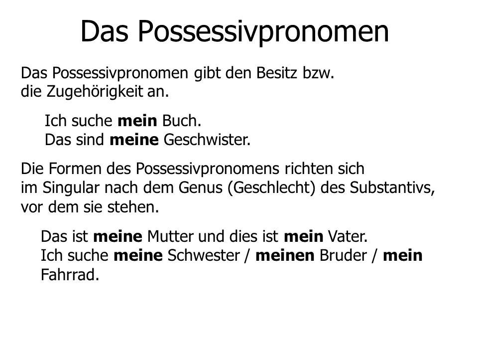 Das Possessivpronomen Das Possessivpronomen gibt den Besitz bzw. die Zugehörigkeit an. Ich suche mein Buch. Das sind meine Geschwister. Die Formen des
