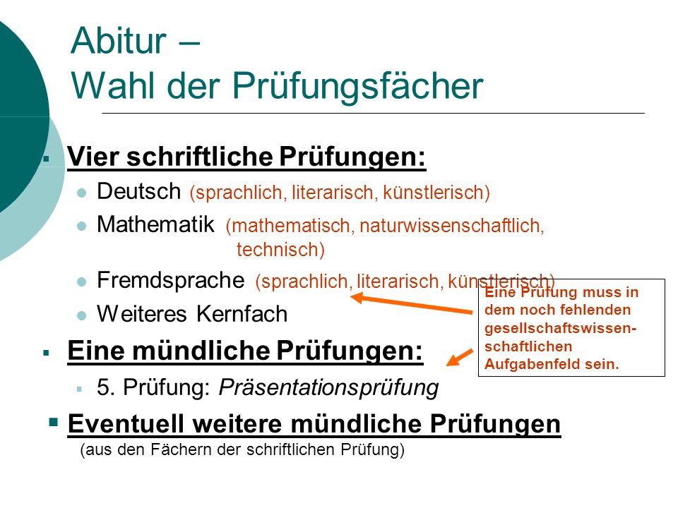 Abitur – Wahl der Prüfungsfächer Vier schriftliche Prüfungen: Deutsch (sprachlich, literarisch, künstlerisch) Mathematik (mathematisch, naturwissensch