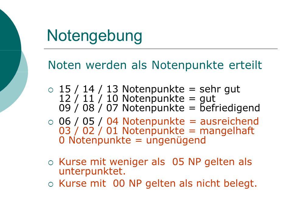 Notengebung Noten werden als Notenpunkte erteilt 15 / 14 / 13 Notenpunkte = sehr gut 12 / 11 / 10 Notenpunkte = gut 09 / 08 / 07 Notenpunkte = befried