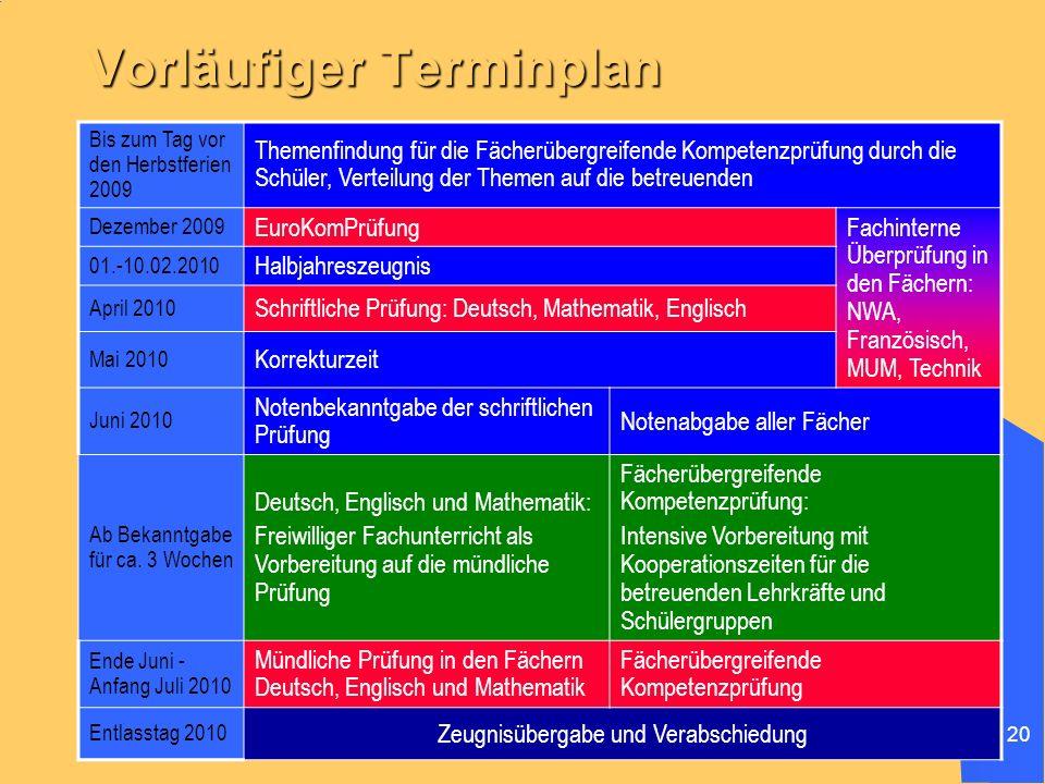 20 Vorläufiger Terminplan Bis zum Tag vor den Herbstferien 2009 Themenfindung für die Fächerübergreifende Kompetenzprüfung durch die Schüler, Verteilu