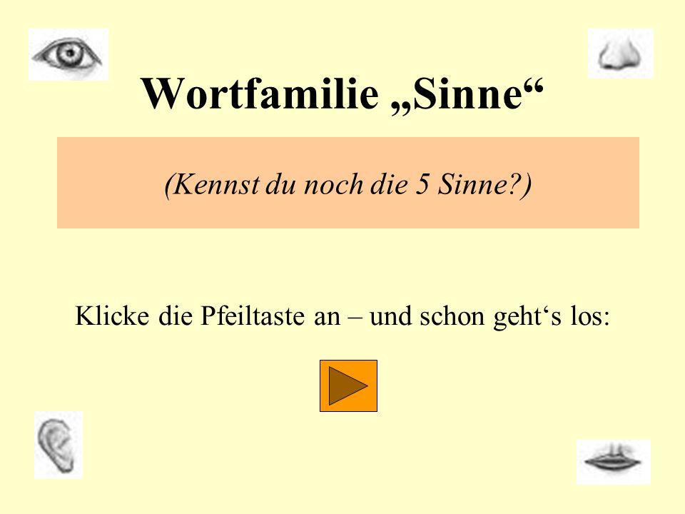 Wortfamilie Sinne (Kennst du noch die 5 Sinne?) Klicke die Pfeiltaste an – und schon gehts los: