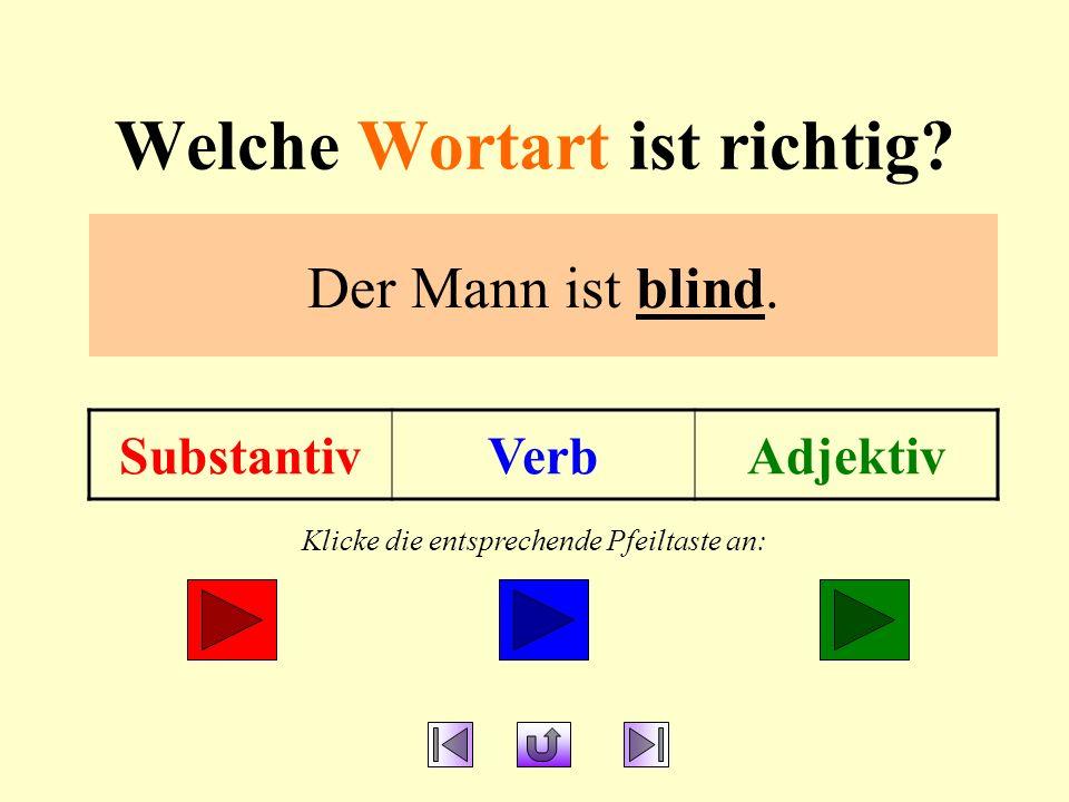 Welche Wortart ist richtig.SubstantivVerbAdjektiv Der Mann ist blind.