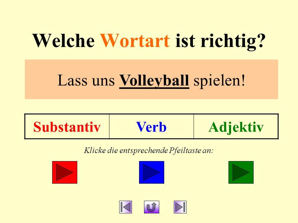 Welche Wortart ist richtig.SubstantivVerbAdjektiv Lass uns Volleyball spielen.