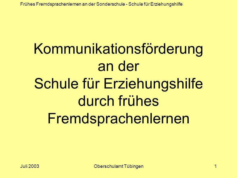 Frühes Fremdsprachenlernen an der Sonderschule - Schule für Erziehungshilfe Juli 2003Oberschulamt Tübingen1 Kommunikationsförderung an der Schule für