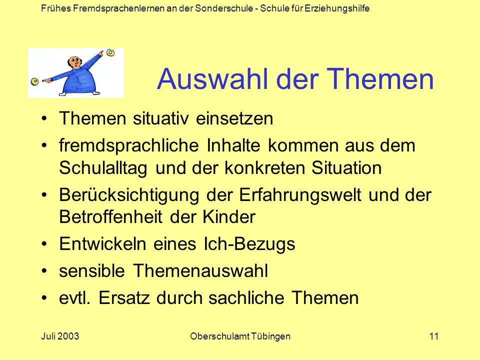 Frühes Fremdsprachenlernen an der Sonderschule - Schule für Erziehungshilfe Juli 2003Oberschulamt Tübingen11 Auswahl der Themen Themen situativ einset