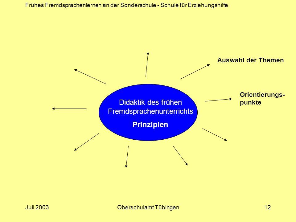 Frühes Fremdsprachenlernen an der Sonderschule - Schule für Erziehungshilfe Juli 2003Oberschulamt Tübingen12 Didaktik des frühen Fremdsprachenunterric