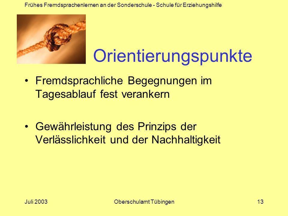 Frühes Fremdsprachenlernen an der Sonderschule - Schule für Erziehungshilfe Juli 2003Oberschulamt Tübingen13 Orientierungspunkte Fremdsprachliche Bege