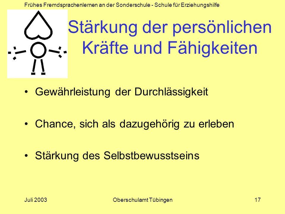 Frühes Fremdsprachenlernen an der Sonderschule - Schule für Erziehungshilfe Juli 2003Oberschulamt Tübingen17 Stärkung der persönlichen Kräfte und Fähi