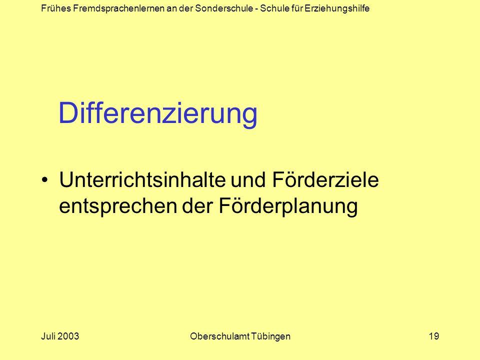 Frühes Fremdsprachenlernen an der Sonderschule - Schule für Erziehungshilfe Juli 2003Oberschulamt Tübingen19 Differenzierung Unterrichtsinhalte und Fö