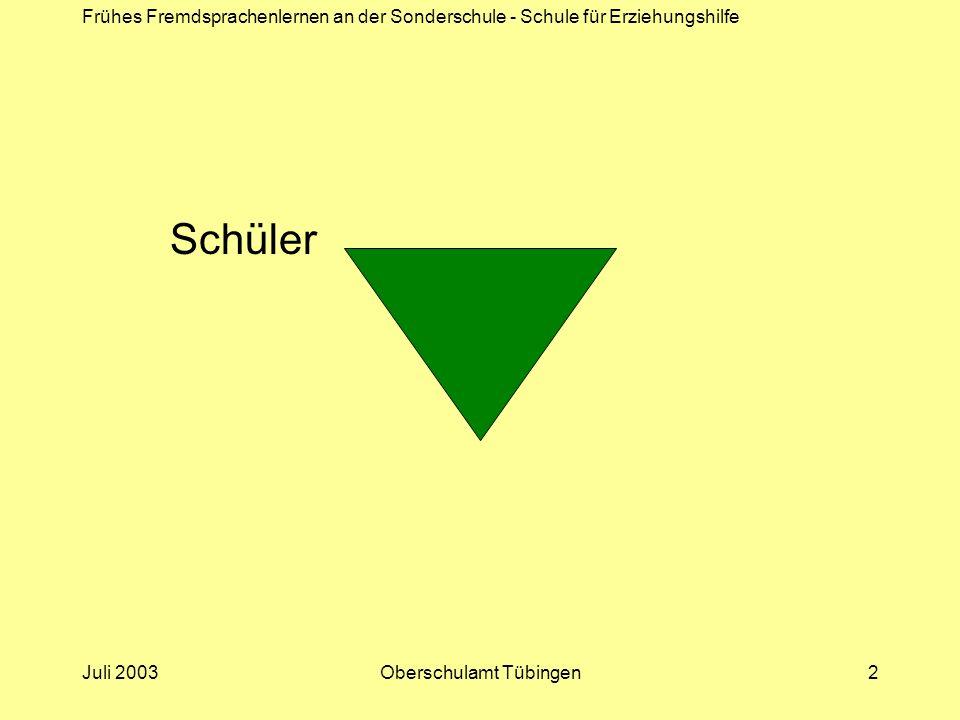 Frühes Fremdsprachenlernen an der Sonderschule - Schule für Erziehungshilfe Juli 2003Oberschulamt Tübingen2 Schüler