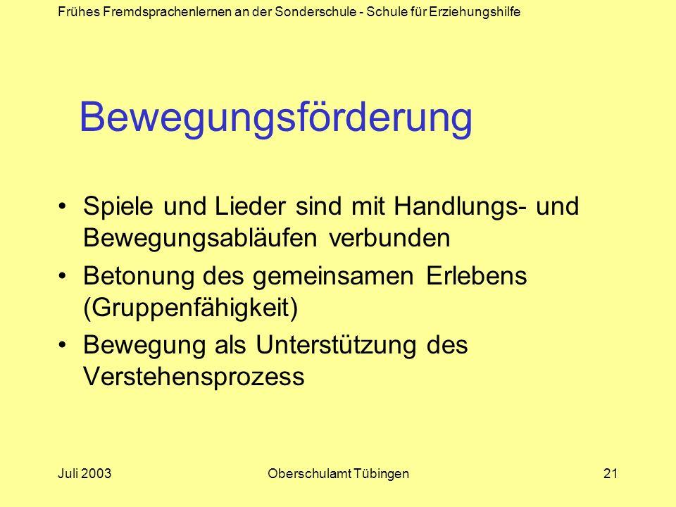 Frühes Fremdsprachenlernen an der Sonderschule - Schule für Erziehungshilfe Juli 2003Oberschulamt Tübingen21 Bewegungsförderung Spiele und Lieder sind