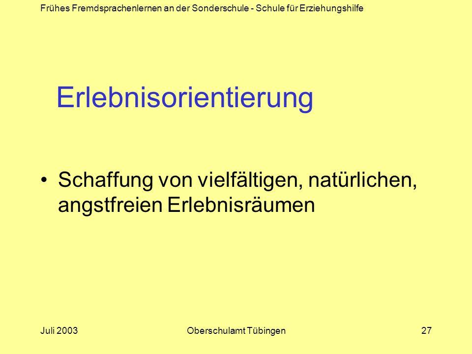 Frühes Fremdsprachenlernen an der Sonderschule - Schule für Erziehungshilfe Juli 2003Oberschulamt Tübingen27 Erlebnisorientierung Schaffung von vielfä
