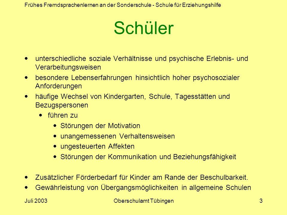 Frühes Fremdsprachenlernen an der Sonderschule - Schule für Erziehungshilfe Juli 2003Oberschulamt Tübingen3 Schüler unterschiedliche soziale Verhältni