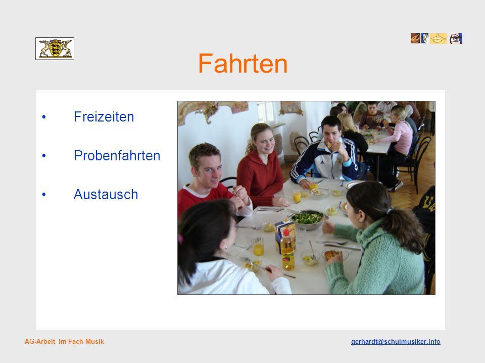 Fahrten Freizeiten Probenfahrten Austausch AG-Arbeit im Fach Musik gerhardt@schulmusiker.info