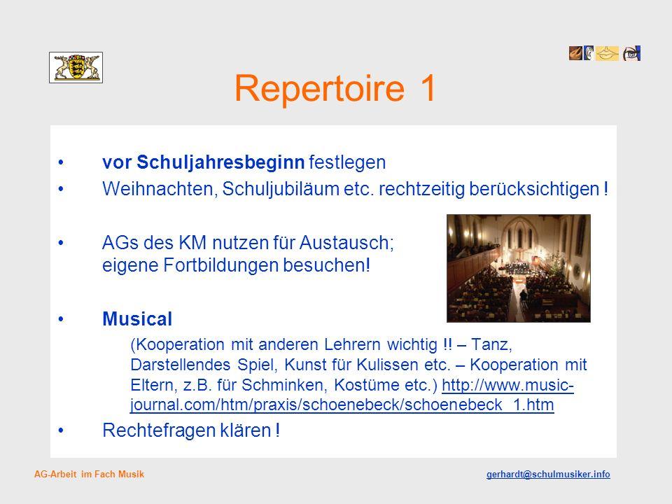 Repertoire 1 vor Schuljahresbeginn festlegen Weihnachten, Schuljubiläum etc.