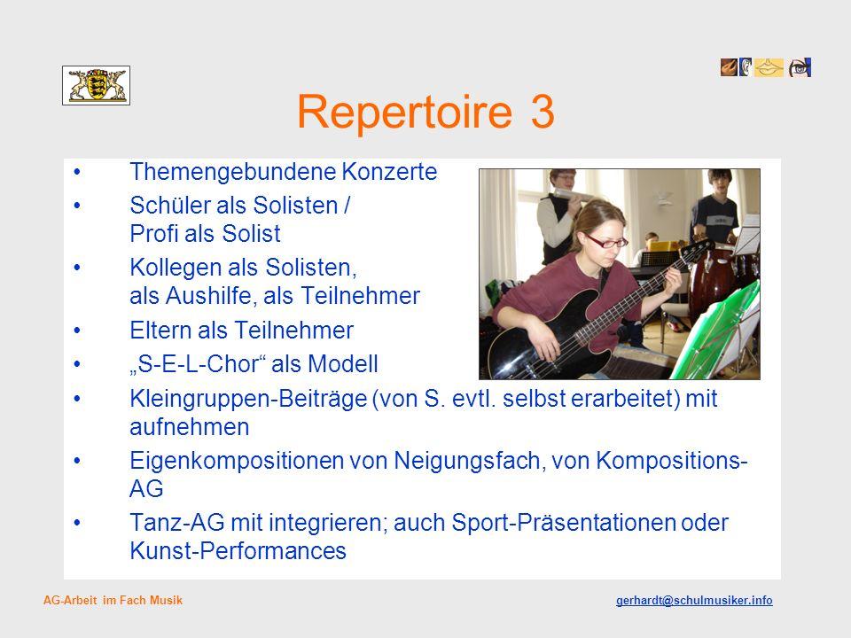 Repertoire 3 Themengebundene Konzerte Schüler als Solisten / Profi als Solist Kollegen als Solisten, als Aushilfe, als Teilnehmer Eltern als Teilnehmer S-E-L-Chor als Modell Kleingruppen-Beiträge (von S.
