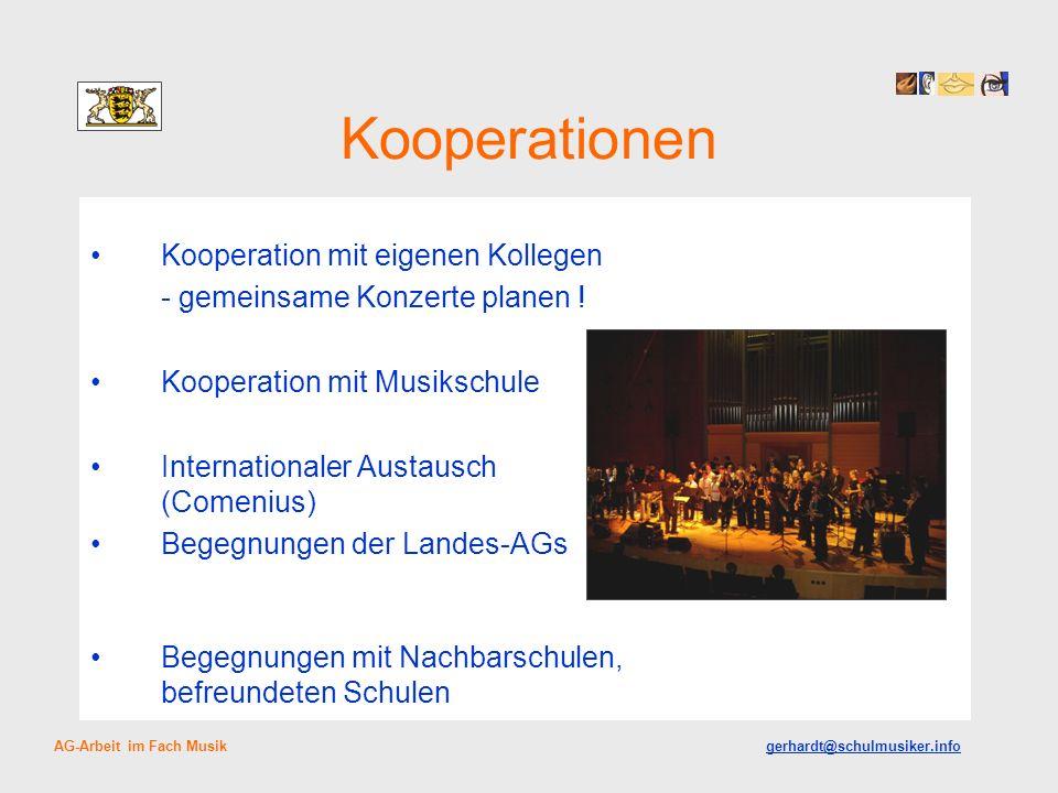 Kooperationen Kooperation mit eigenen Kollegen - gemeinsame Konzerte planen ! Kooperation mit Musikschule Internationaler Austausch (Comenius) Begegnu