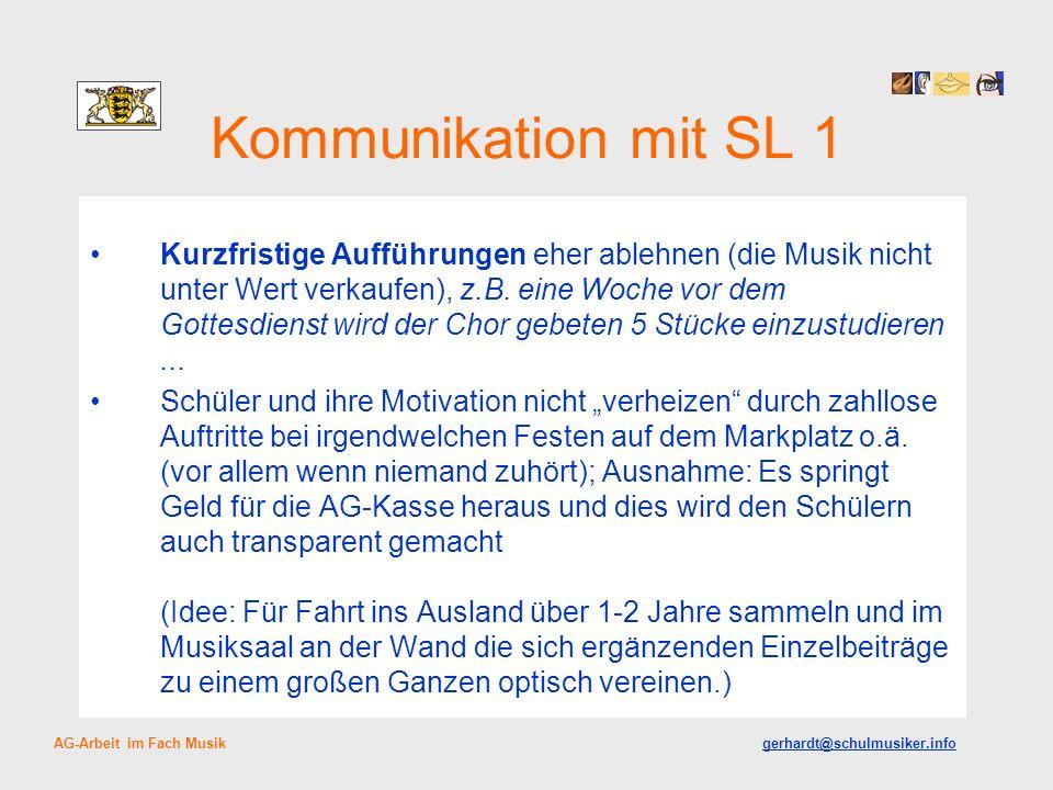 Kommunikation mit SL 1 Kurzfristige Aufführungen eher ablehnen (die Musik nicht unter Wert verkaufen), z.B.