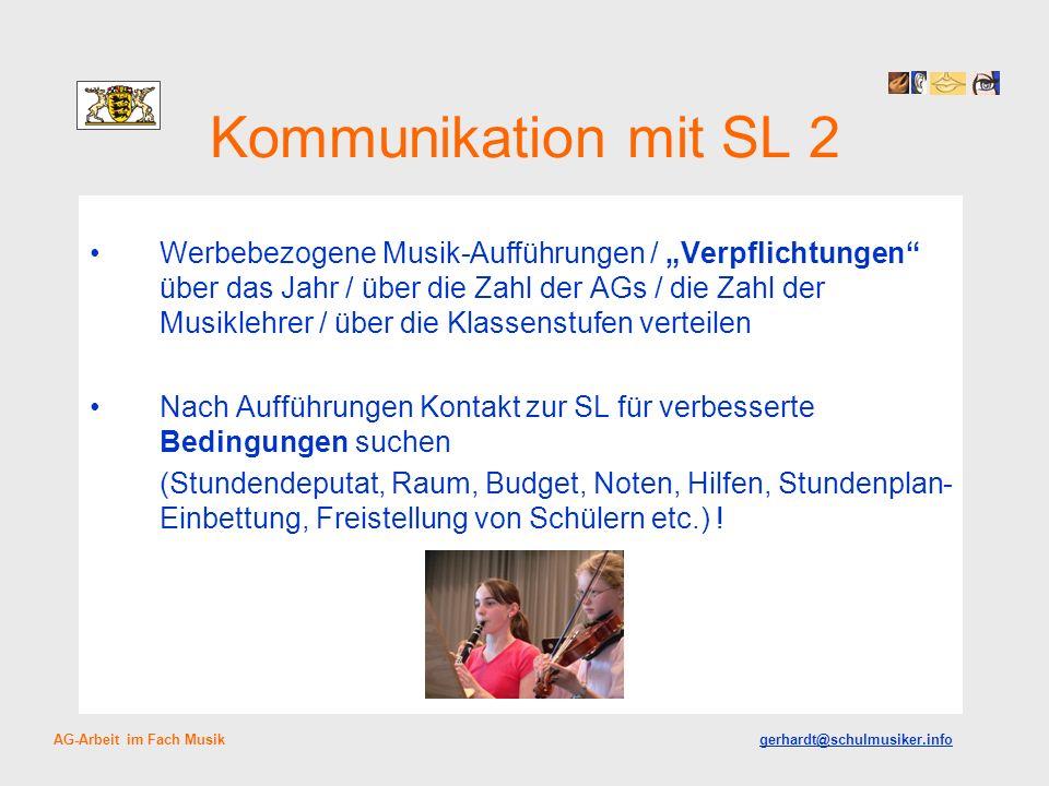 Kommunikation mit SL 2 Werbebezogene Musik-Aufführungen / Verpflichtungen über das Jahr / über die Zahl der AGs / die Zahl der Musiklehrer / über die
