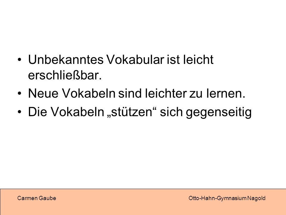 Carmen GaubeOtto-Hahn-Gymnasium Nagold Unbekanntes Vokabular ist leicht erschließbar.