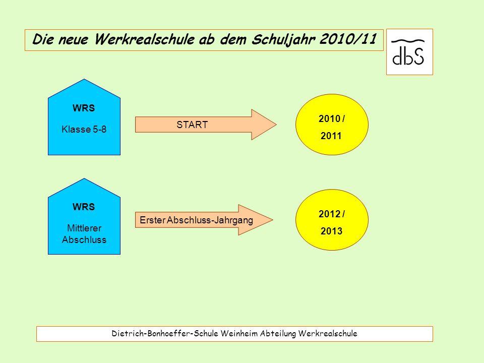 Dietrich-Bonhoeffer-Schule Weinheim Abteilung Werkrealschule Die neue Werkrealschule ab dem Schuljahr 2010/11 START WRS Klasse 5-8 2010 / 2011 WRS Mittlerer Abschluss Erster Abschluss-Jahrgang 2012 / 2013
