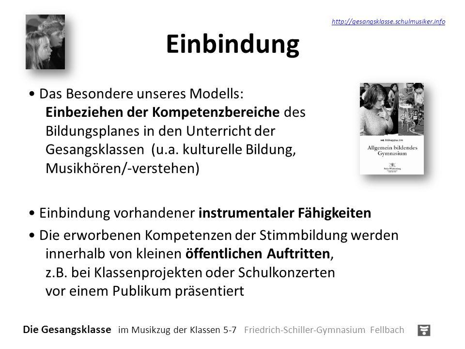 Einbindung Das Besondere unseres Modells: Einbeziehen der Kompetenzbereiche des Bildungsplanes in den Unterricht der Gesangsklassen (u.a. kulturelle B