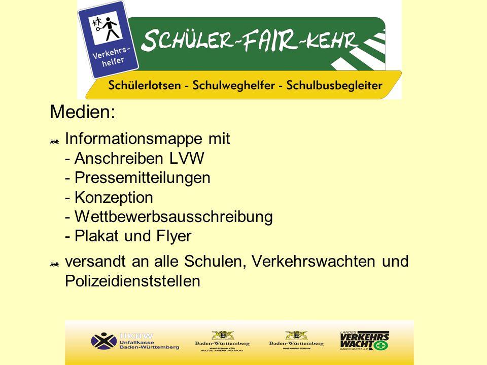 Medien: Informationsmappe mit - Anschreiben LVW - Pressemitteilungen - Konzeption - Wettbewerbsausschreibung - Plakat und Flyer versandt an alle Schul