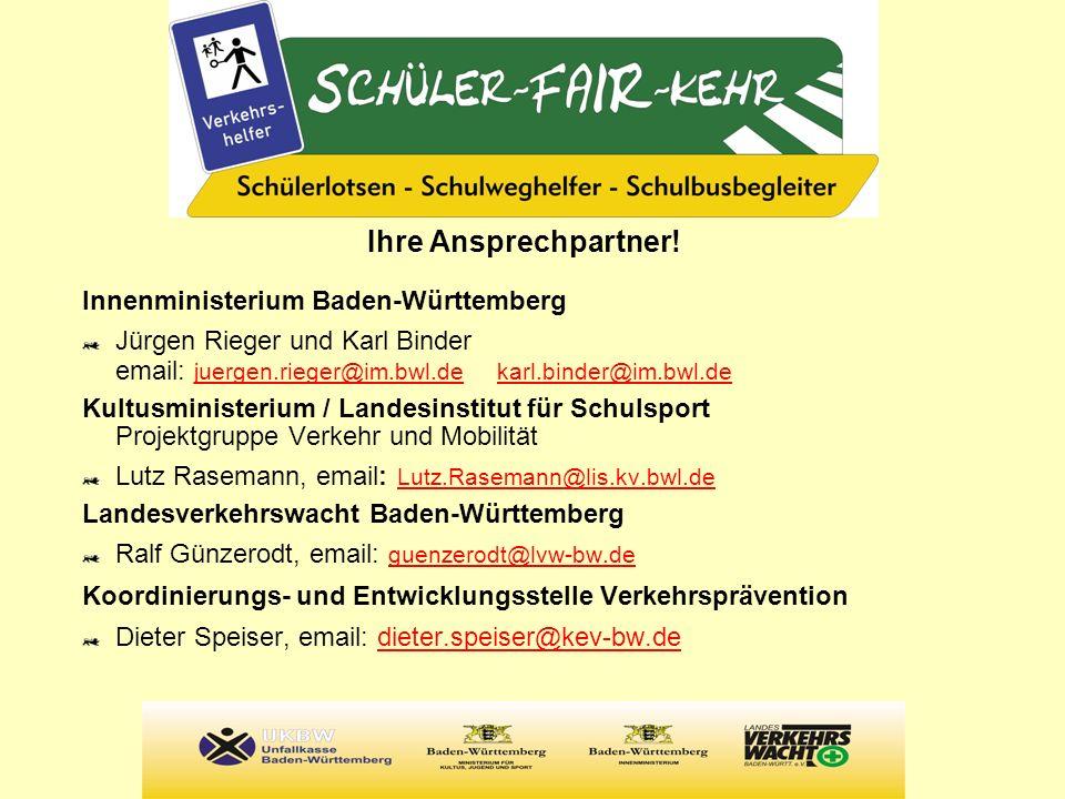 Weitere Informationen http://schuelerfairkehr.gib-acht-im-verkehr.de > neue subdomainhttp://schuelerfairkehr.gib-acht-im-verkehr.de www.verkehrswacht-bw.de www.lis-in-bw.de (Landesinstitut für Schulsport, Projektgruppe Verkehr und Mobilität)www.lis-in-bw.de www.schule-bw.de (Landesbildungsserver BW > Unterricht > fächerübergreifende Themen > Verkehr und Mobilität)www.schule-bw.de www.uk-bw.de (Unfallkasse Baden-Württemberg)www.uk-bw.de
