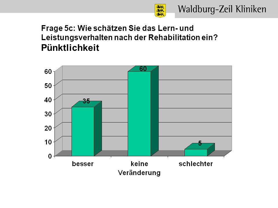 Frage 5c: Wie schätzen Sie das Lern- und Leistungsverhalten nach der Rehabilitation ein? Pünktlichkeit