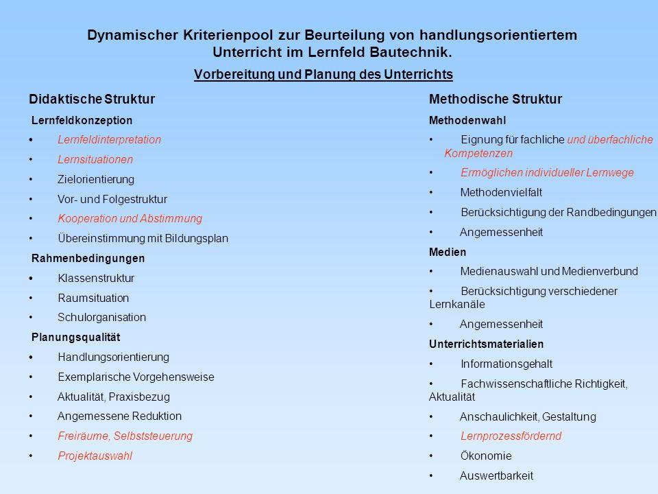 Dynamischer Kriterienpool zur Beurteilung von handlungsorientiertem Unterricht im Lernfeld Bautechnik.