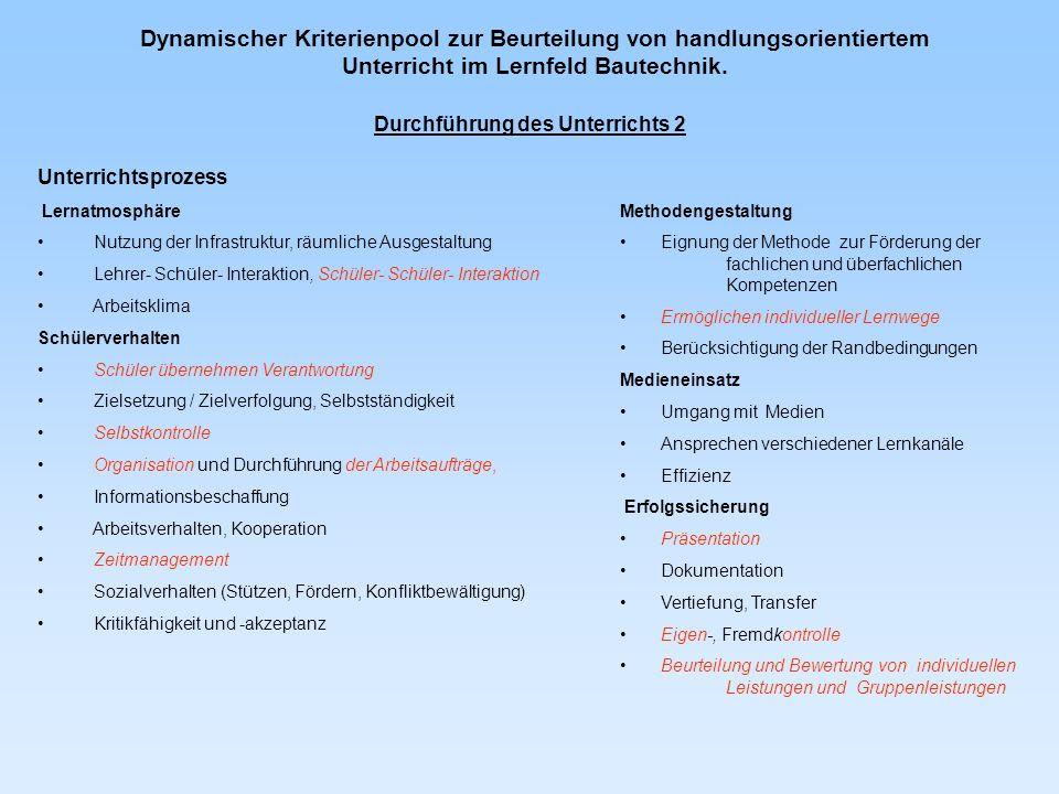 Dynamischer Kriterienpool zur Beurteilung von handlungsorientiertem Unterricht im Lernfeld Bautechnik. Unterrichtsprozess Lernatmosphäre Nutzung der I