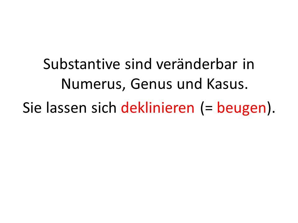 Substantive sind veränderbar in Numerus, Genus und Kasus. Sie lassen sich deklinieren (= beugen).