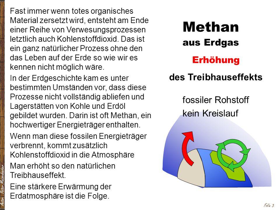 Autor: Peter Maisenbacher Folie 3 Fast immer wenn totes organisches Material zersetzt wird, entsteht am Ende einer Reihe von Verwesungsprozessen letztlich auch Kohlenstoffdioxid.
