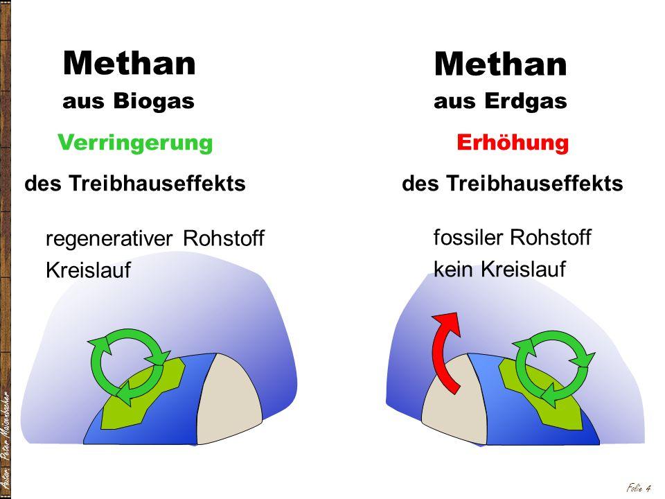 Autor: Peter Maisenbacher Folie 4 aus Biogas Verringerung des Treibhauseffekts Methan regenerativer Rohstoff Kreislauf aus Erdgas Erhöhung des Treibhauseffekts Methan fossiler Rohstoff kein Kreislauf