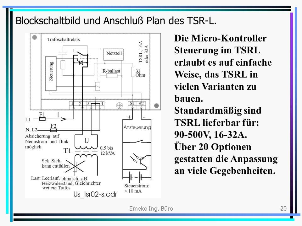 Emeko Ing. Büro20 Blockschaltbild und Anschluß Plan des TSR-L. Die Micro-Kontroller Steuerung im TSRL erlaubt es auf einfache Weise, das TSRL in viele