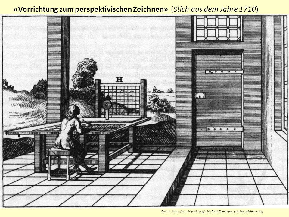 «Vorrichtung zum perspektivischen Zeichnen» (Stich aus dem Jahre 1710) Quelle : http://de.wikipedia.org/wiki/Datei:Zentralperspektive_zeichnen.png