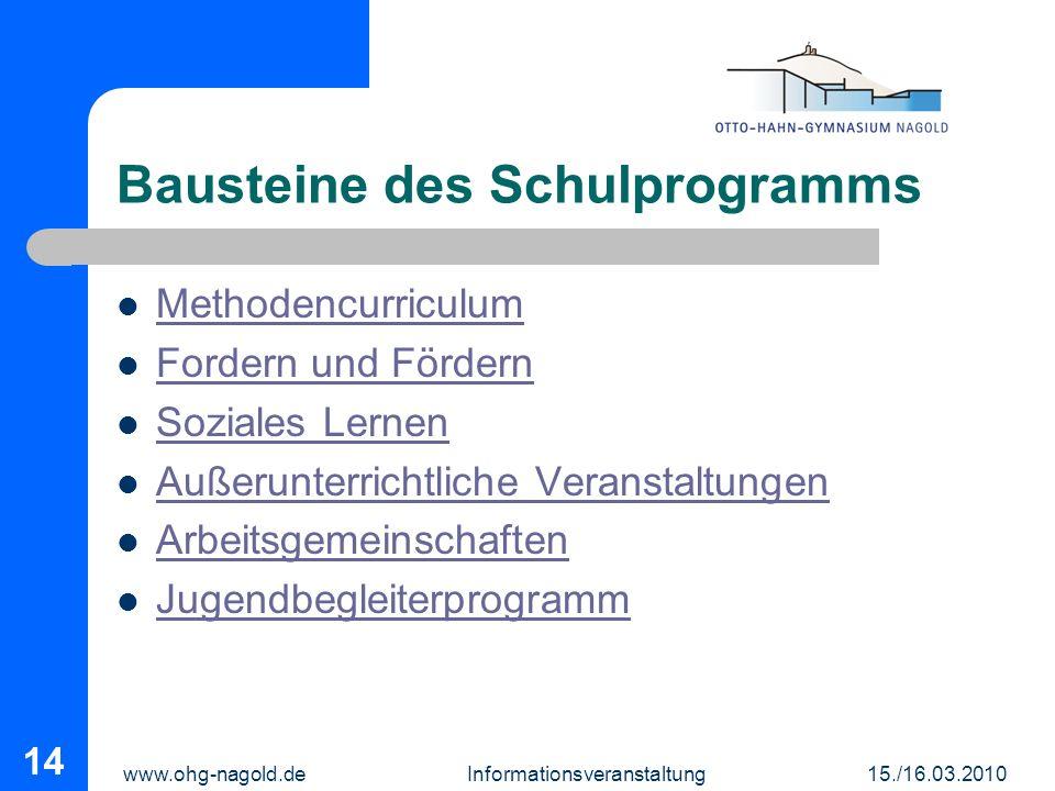 www.ohg-nagold.de Informationsveranstaltung 15./16.03.2010 14 Bausteine des Schulprogramms Methodencurriculum Fordern und Fördern Soziales Lernen Auße